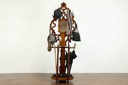 Victorian Antique Farmhouse Cherry Hall Tree Or Stand Iron Shell Drip Pan 38263