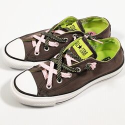 Converse All Star Skateboard Shoe Gray Suede Lime Green Double Laces Size W 5.5