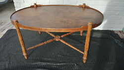 Vintage Antique Oval Wood Tray Coffee Table X Leg Brace By Heritage