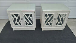 Vintage Mid Century Pair Of Faux Bamboo Chinese Chippendale Mirror Night Stands