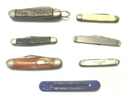 Lot Of Six Vintage Pocket Knives And One Nail File All In Various Conditions Used
