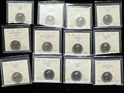 1992 Confederation 25 Cent Series Complete Set Of 12 Iccs Certified Nbu Ms65-67