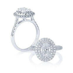 1.24 Carat Real Oval Diamond Anniversary Ring Solid 950 Platinum Size 4 5 6 7 8