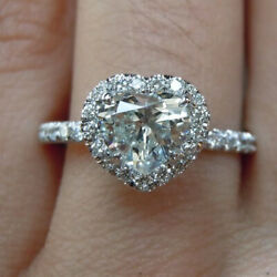 0.92 Carat Real Heart Diamond Bridal Engagement Ring Solid 950 Platinum All Size