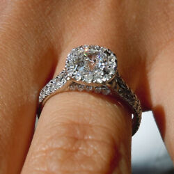 1.24 Ct Real Cushion Diamond Anniversary Ring Solid 950 Platinum Sizes Selective