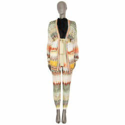 63287 Auth Missoni Multicolor Zigzag Belted Knit Wrap Cardigan Sweater 42 M