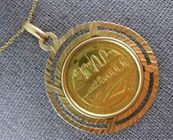 Antique Large 18kt And 22kt Yellow Gold 3d Venezuela Coin Floating Pendant 27376