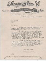 1914 Letterhead And Letter With Rifle Graphics From The Savage Arms Co Utica Ny