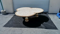 Vintage Antique Maitland -smith Tessellated Travetine Clover Marble Coffee Table