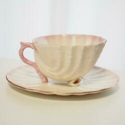 Belleek Neptune Pink Cup And Saucer Edge Of Gold 2001-2006 Ireland Shell Tableware