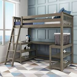 Max And Lily Twin-size High Loft Bed With Wraparound Desk And Shelves