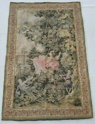 Huge Vintage French Love Garden Swing Tapestry Wall Hanging Panel 152x101cm