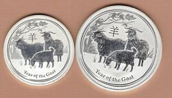 Two 2015p Australia Silver Two Ounce 2 And One Ounce 1 Year Of The Goat Coins.