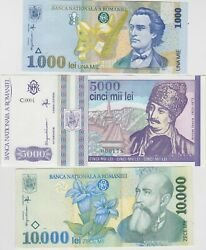 Three Banknotes From Romania 5000 Lei To 10,000 Lei In Mint Condition.