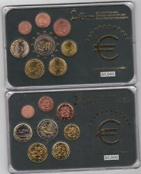Two Cased Finland And Luxembourg Eight Coin Euro Sets With Certificates Near Mint