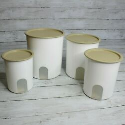 Tupperware One Touch Canister Set White Beige Seals Flour Sugar
