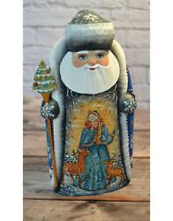 Hand Carved Russian Santa With Snow Maiden