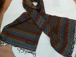 345. Missoni Wool Menand039s Brown Zig Zag Scarf Authentic Italy