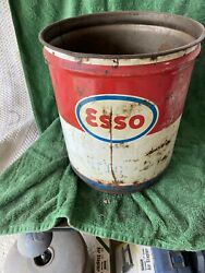 Vintage Esso 5 Gallon Grease Can Missing Lid - Price Right