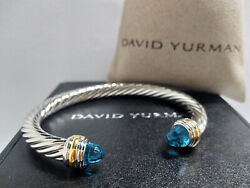 David Yurman Sterling Silver Cable Classic 7mm 14k Gold Bracelet With Blue Topaz