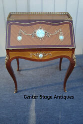 61585 French Satinwood Desk With Bronze Ormalu