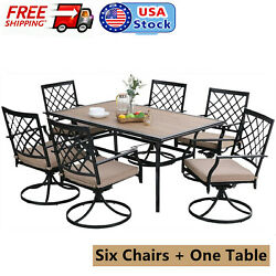 Outdoor Metal Furniture Set Of 7 Wood Like Tables With Hole Patio Chair Swivel
