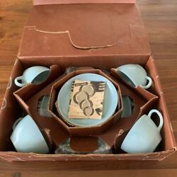 Dead Stock Fire King Turquoise Blue Starter Set Cup And Saucer X4 Dinner Plate X 4