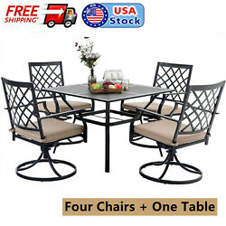Outdoor Metal Table Chairs Set Of 5 Swivel Chairs Square Table Patio Furniture