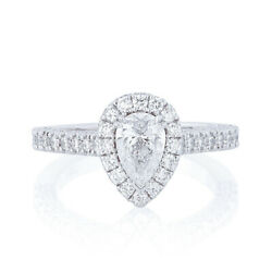 Stunning 1.10 Carat Pear Real Diamond Wedding Ring 14k White Gold Size Available