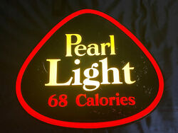 Vintage Authentic 1950s Pearl Light 68 Calories Lighted Beer Sign, Rare