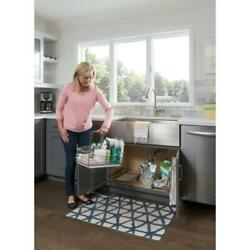 Kitchen Base Cabinet Cleaning Supply Organizer Pullout Removable Rollout Tray