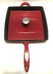 """11"""" Mario Batali By Dansk Red Enameled Cast Iron Grill Pan/panini Press W/lid"""