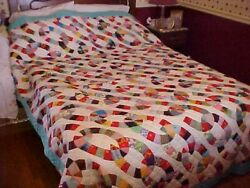 Vintage 1930s Quilt, Multicolored Chains Or Interlocking Rings