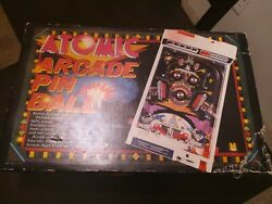Vtg 1979 Tomy Atomic Arcade Tabletop Pinball Electronic Game W/ Legs And Box Used