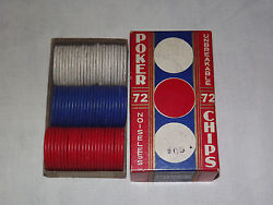 Vintage 1920-30s Red White Blue Assorted Unbreakable Noisless Poker Chips In Box