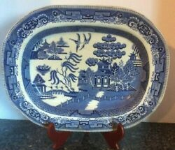 J And G Meakin Antique Large Liberty Blue Platter. Pre-1890.