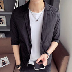 Menand039s Short-sleeved Jackets Personality Casual Suits Solid Color Single-breasted
