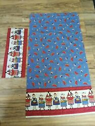Cotton Border Print Fabric Remnant Sm Piece Farm Country Cows Chickens Pigs