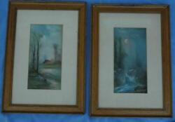 Pair Of Antique Original Pastels Of A Farmhouse And A Stream Scene In Great Frames