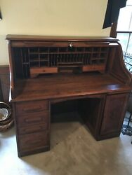 Antique Oak Roll Top Desk And Chair Excellent Condition