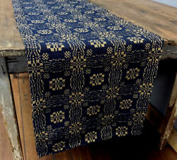 New Gettysburg Extra Long Table Runner - Navy And Tan 72 X 15 Farmhouse