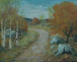 Vintage Oil On Board Of A Fall Landscape By New England Artist Charles Rodick