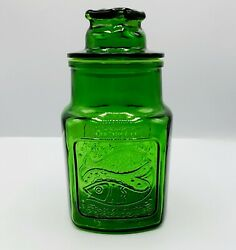 Wheaton Nj Green Glass Apothecary Lidded Jar Canister Fish And Dove Heart Vtg