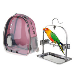 Clear View Parrot Bird Carrier Backpack With Stainless Perch Stand And Feeder Cup