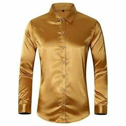 Menand039s Faux Silk Satin Glossy Tops Long Sleeve Button Front Slim Fit Shirts Shirt