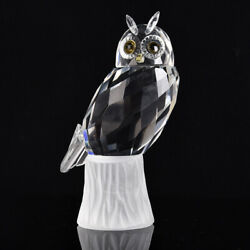 High-quality Crystal Glass Owl Family Figurines Lovely Ornament Home Decor
