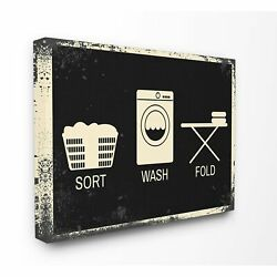 Sort Wash Fold Symbols Industrial Stretched Canvas Wall Art Oversized