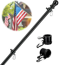 6ft Flag Pole Stainless Steel Heavy Duty Black Flagpole With 2 Rotating Rings