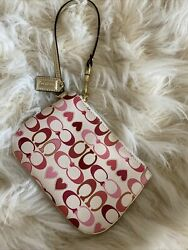 Coach Valentines Hearts Wristlet pink white Red $17.99