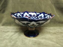 19th Century Flow Blue Pearl White China Pottery Footed Fruit Bowl Compote Dish